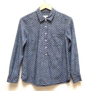 J Crew | Circle Print Popover Button Front Top